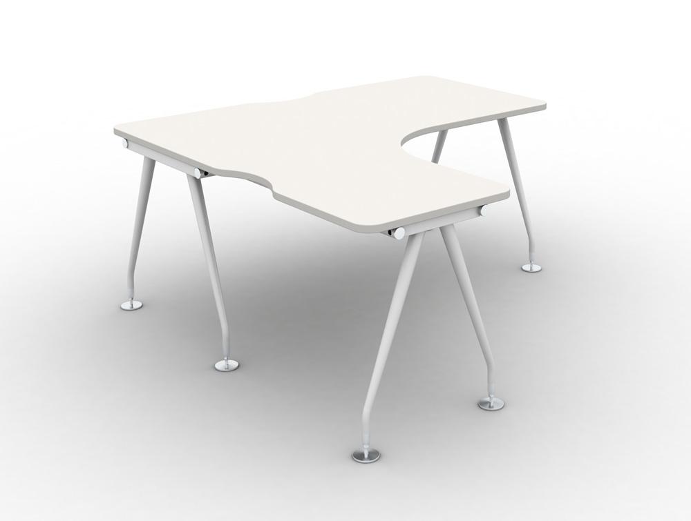 Vega Solo Radial Left-Hand Desk. Upper table in white finish and white metal legs