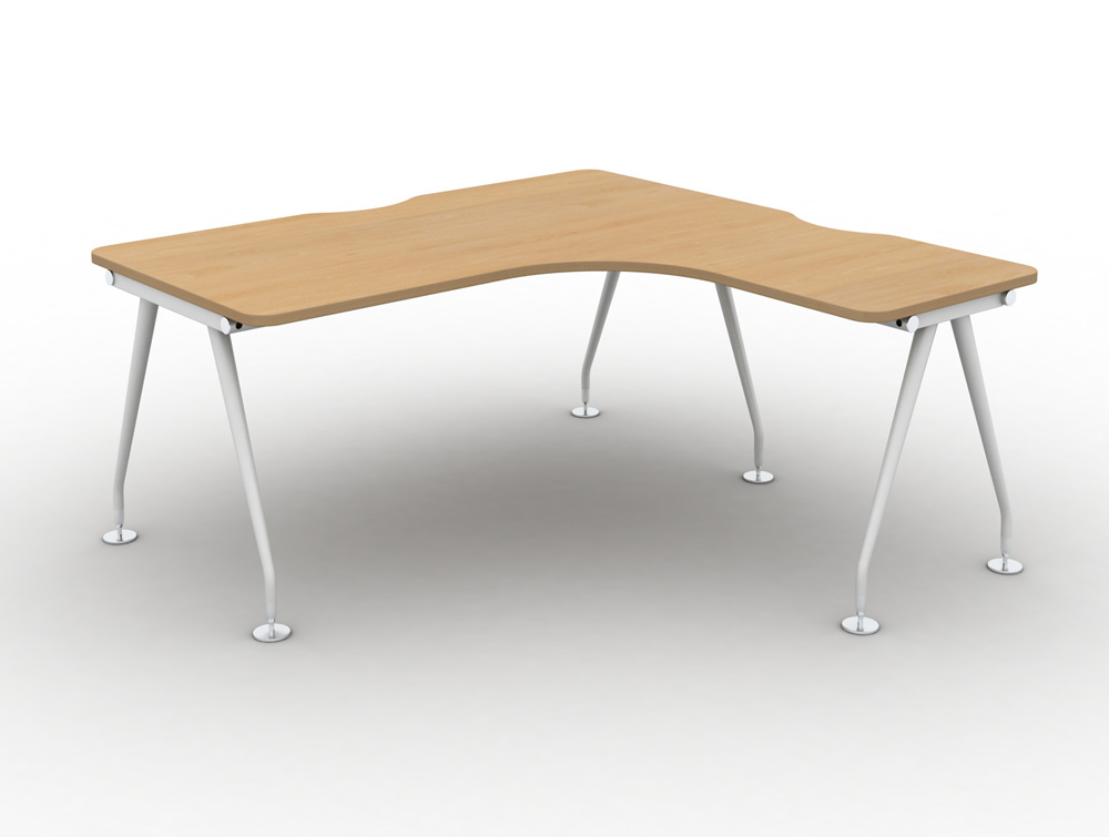 Vega-Solo-Radial-Right-Hand-Desk-with-Beech-Finish-and-White-Legs