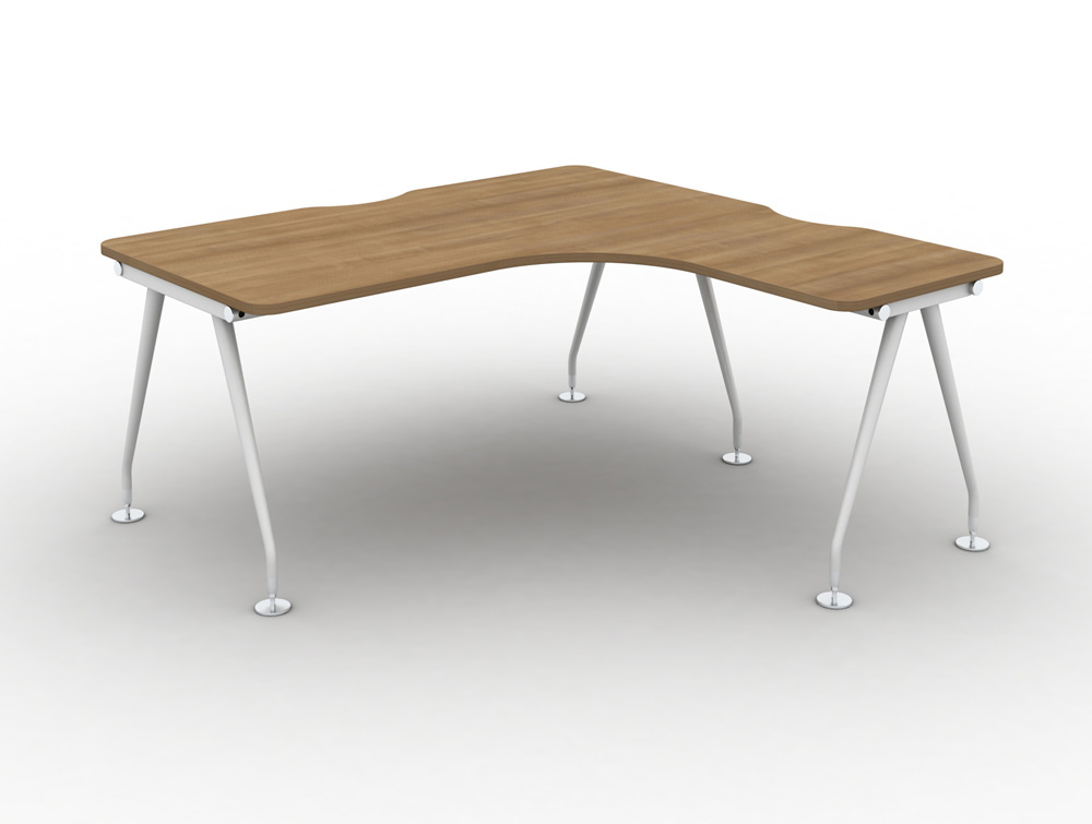 Vega-Solo-Radial-Right-Hand-Desk-with-Cherry-Finish-and-White-Legs