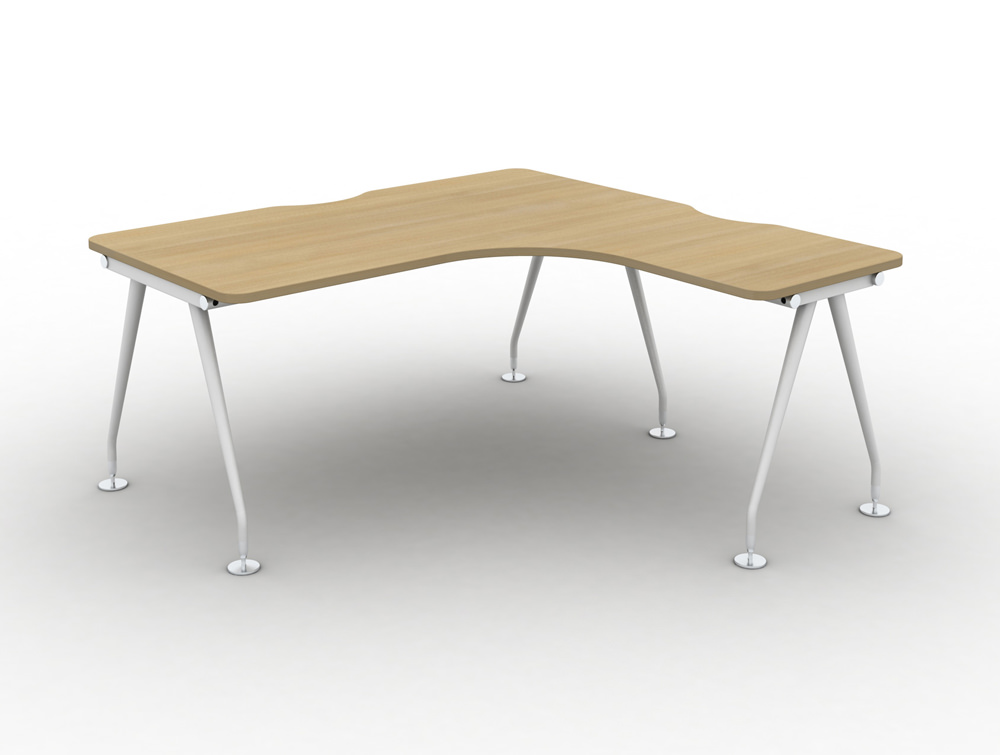 Vega-Solo-Radial-Right-Hand-Desk-with-Oak-Finish-and-White-Legs