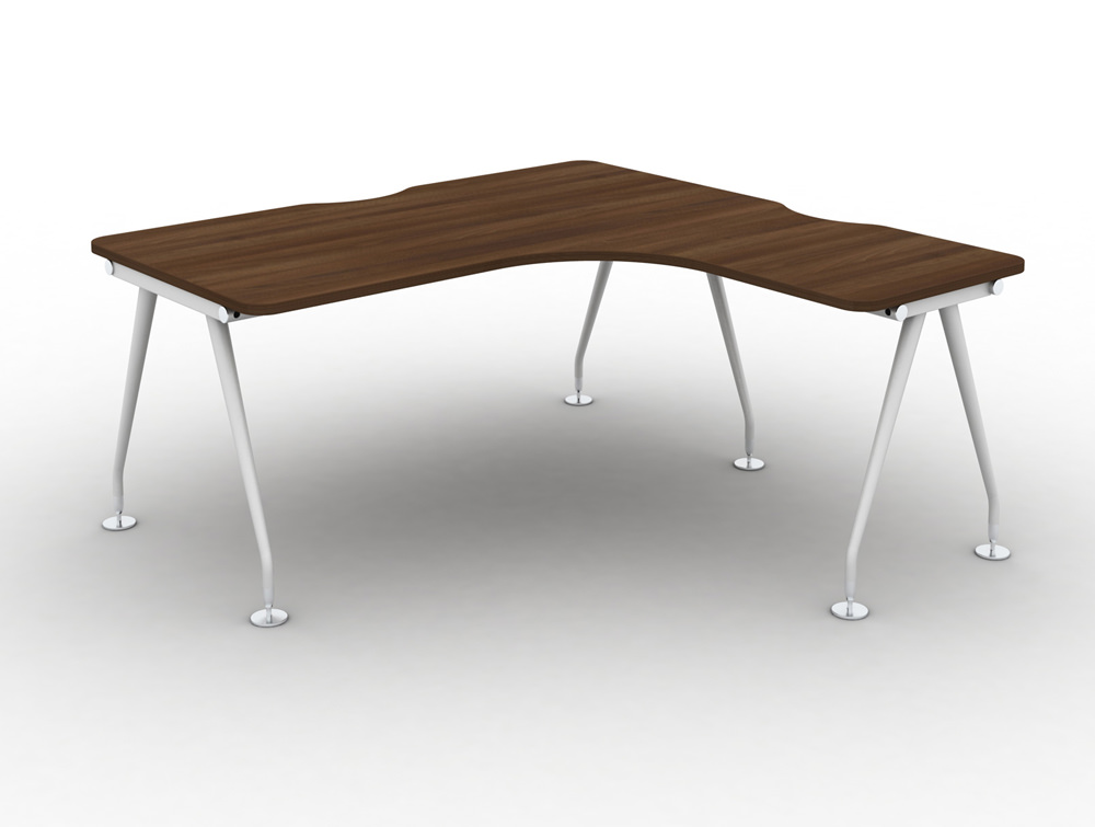 Vega-Solo-Radial-Right-Hand-Desk-with-Walnut-Finish-and-White-Legs