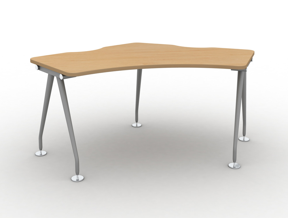 Vega-Delta-Cluster-1-Person-Module-with-Beech-Finish-and-SIlver-Legs