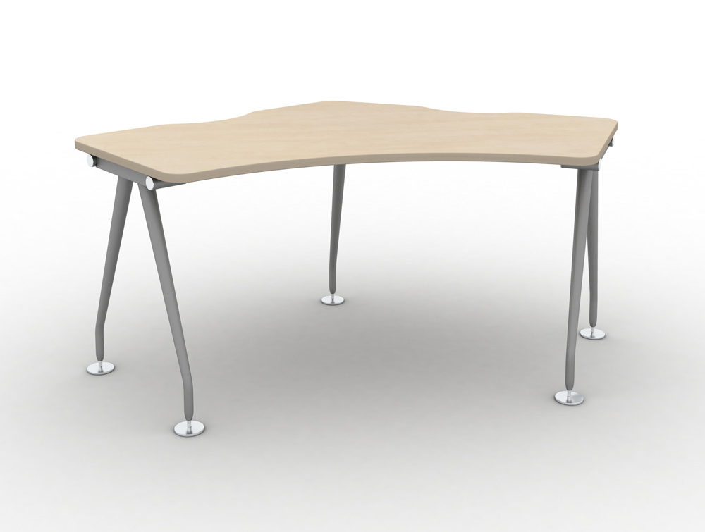 Vega-Delta-Cluster-1-Person-Module-with-Maple-Finish-and-Silver-Legs