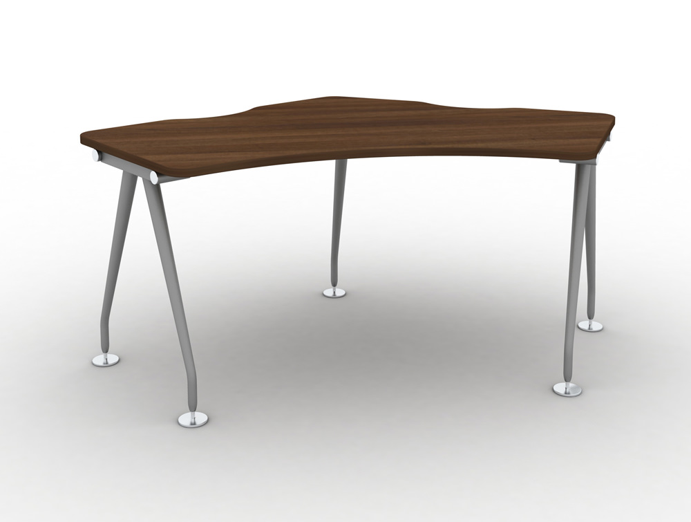Vega-Delta-Cluster-1-Person-Module-with-Walnut-Finish-and-Steel-Legs
