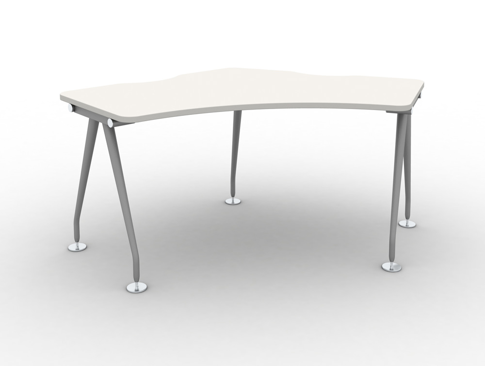 Vega-Delta-Cluster-1-Person-Module-with-White-Finish-and-Steel-Legs