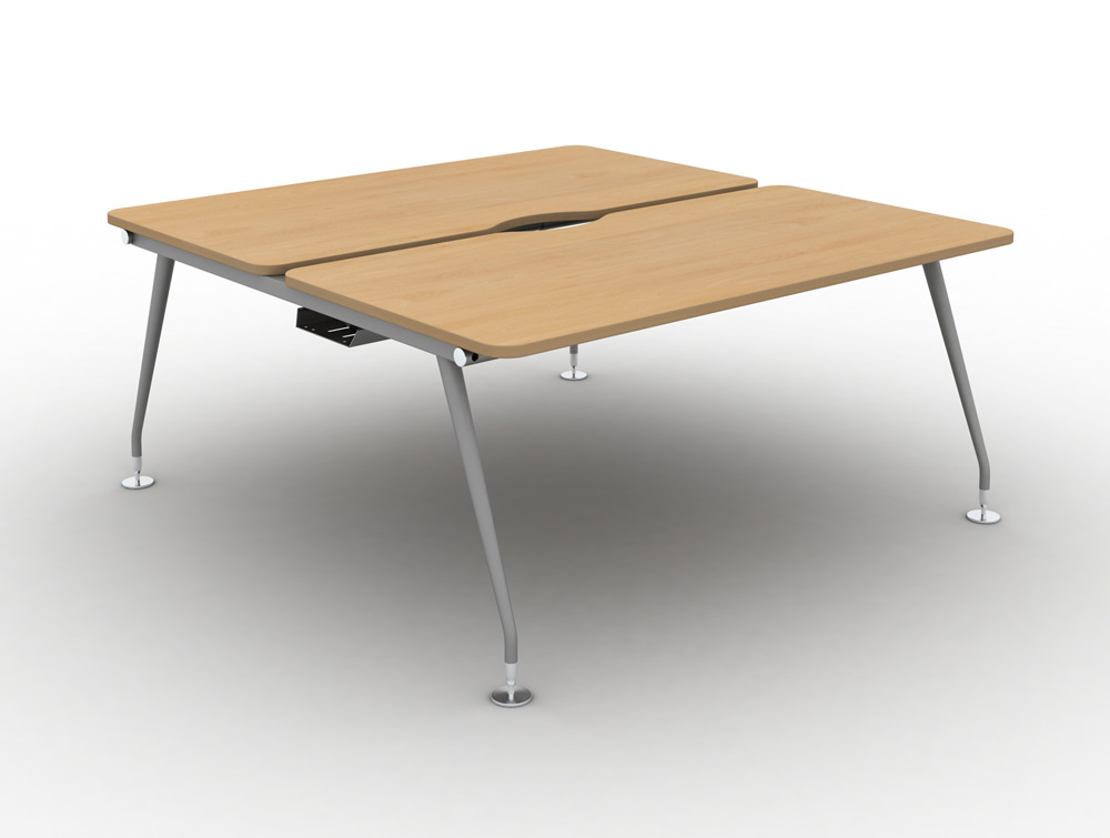Vega-Bench-Desking-Pod-of-2-with-Beech-Finish-and-Silver-Legs