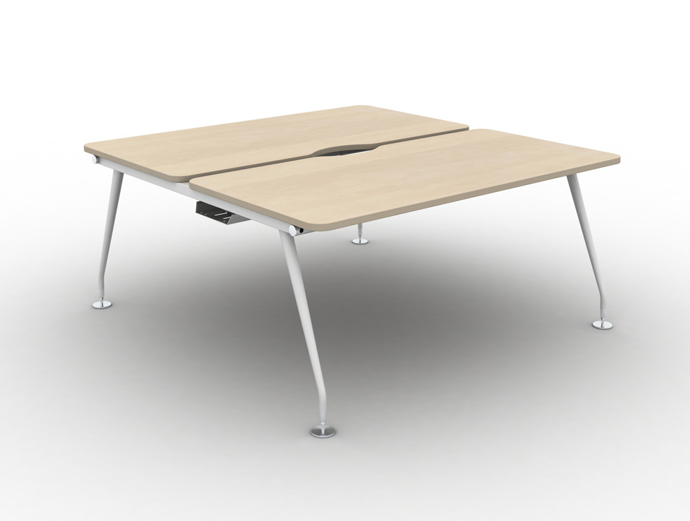 Vega-Bench-Desking-Pod-of-2-with-Maple-Finish-and-White-Legs