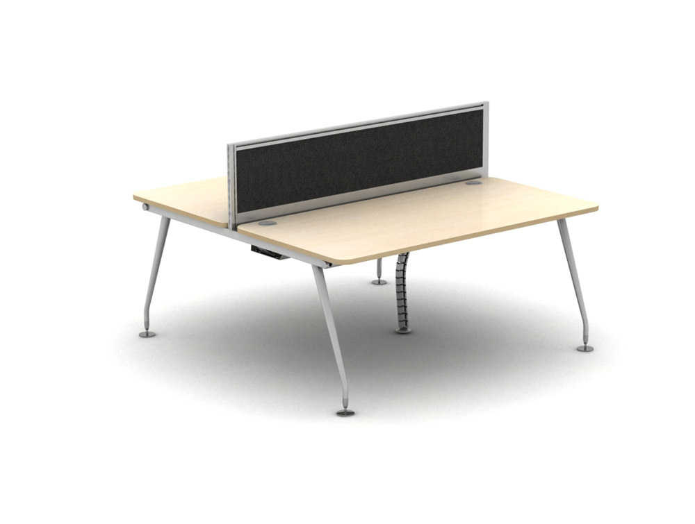 Vega Bench Desking Pod of 2 with Steel Legs and Screen