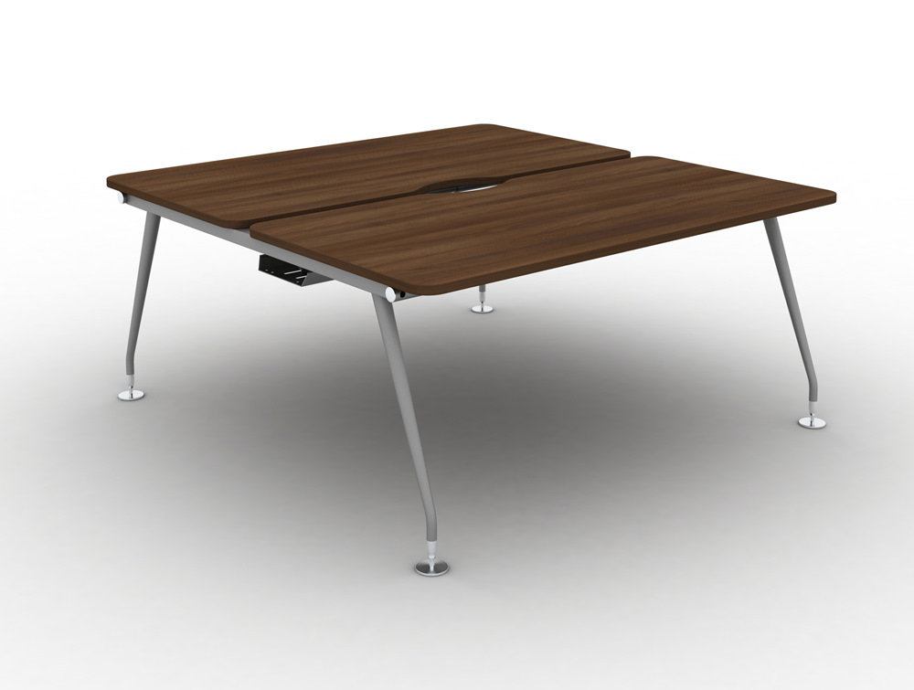 Vega Bench Desking Pod of 2 with Walnut Finish and Silver Legs