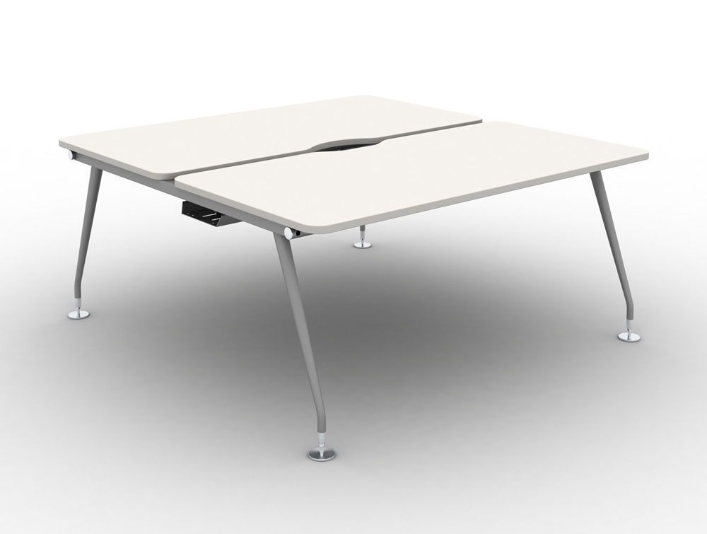 Vega Bench Desking Pod of 2 with White Finish and Steel Legs