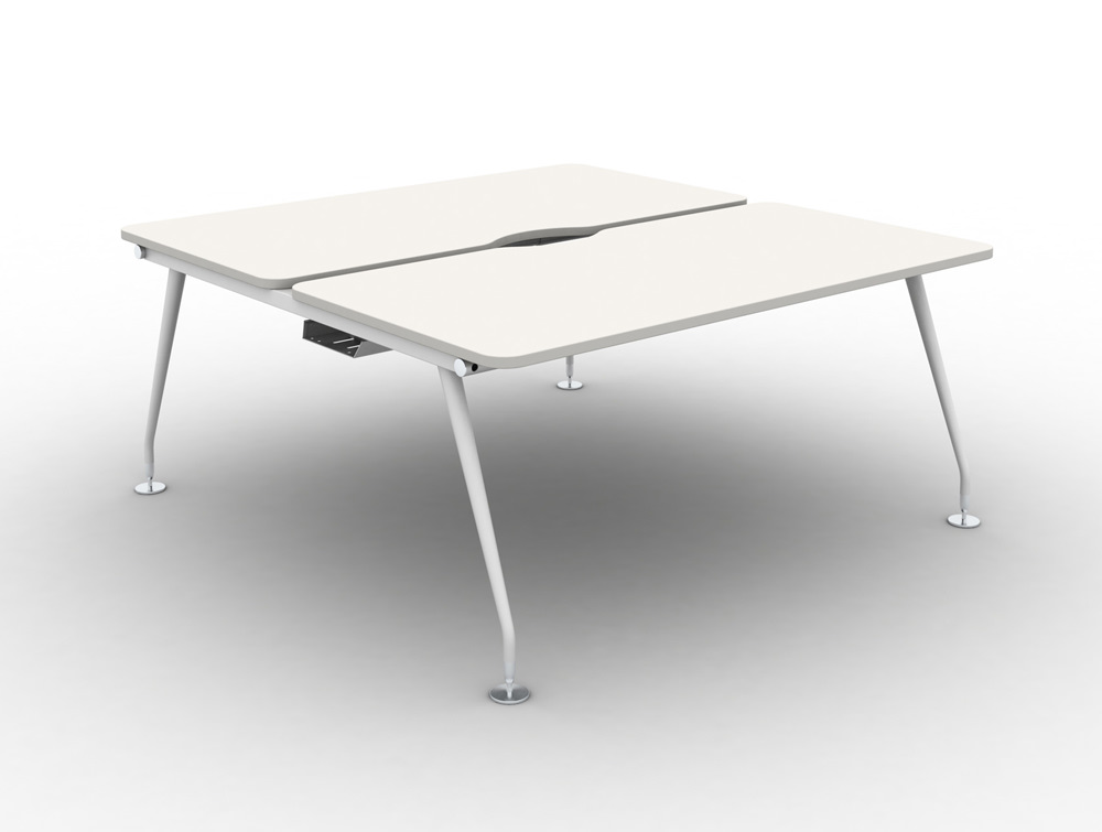 Vega-Bench-Desking-Pod-of-2-with-White-Finish-and-White-Legs
