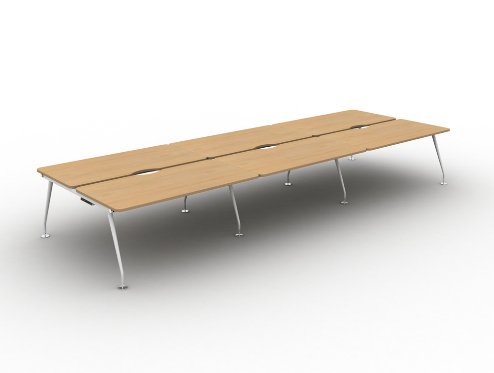 Vega-Bench-Desking-of-6-with-Beech-Finish-and-White-Legs