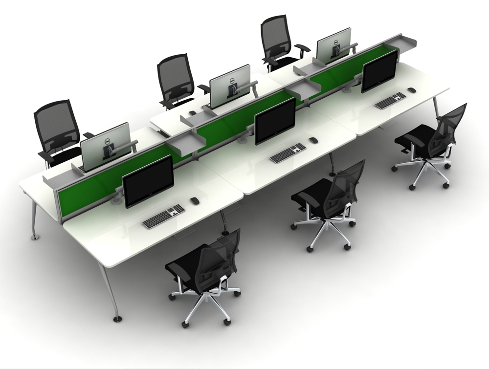 Vega Bench Desking of 6 with White Finish and Screens