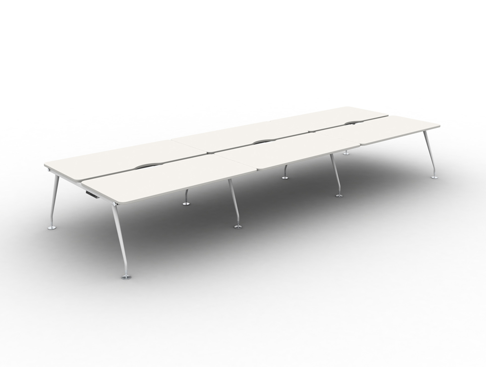 Vega Bench Desking of 6 with White Finish and White Legs