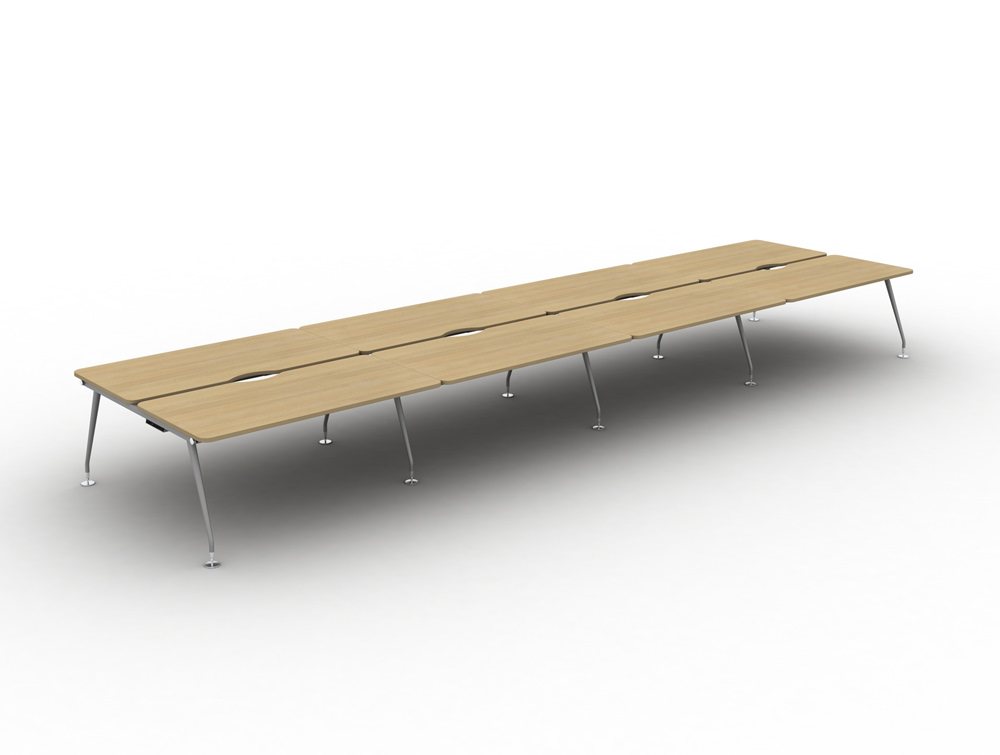 Vega-Bench-Desking-of-8-sith-Oak-Finish-and-Silver-Legs