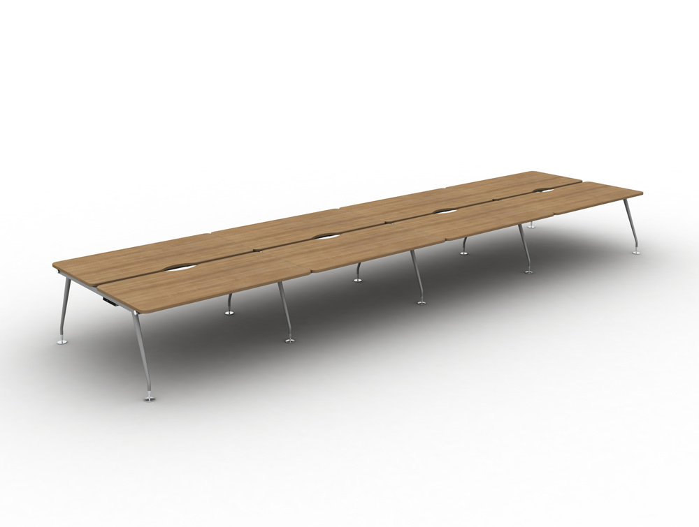 Vega-Bench-Desking-of-8-with-Cherry-FInish-and-Silver-Legs