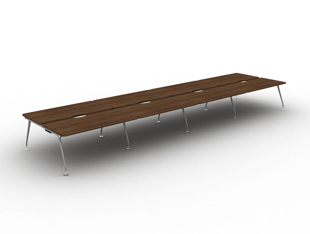 Vega-Bench-Desking-of-8-with-Walnut-Finish-and-Silver-Legs