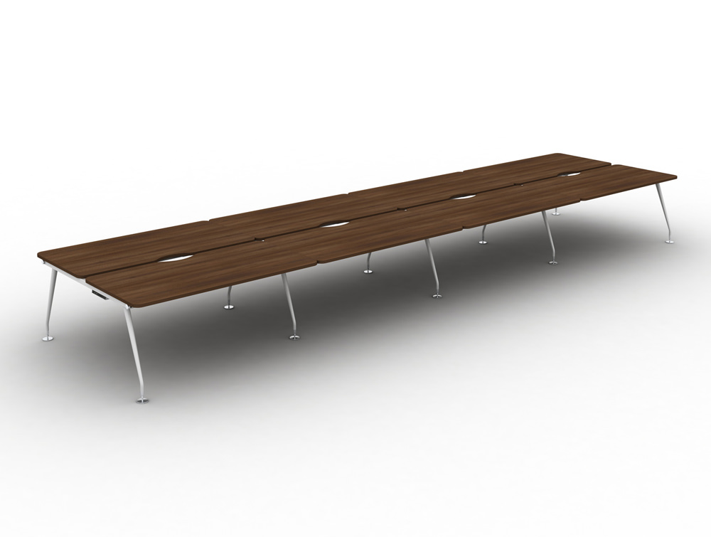 Vega-Bench-Desking-of-8-with-Walnut-Finish-and-White-Legs