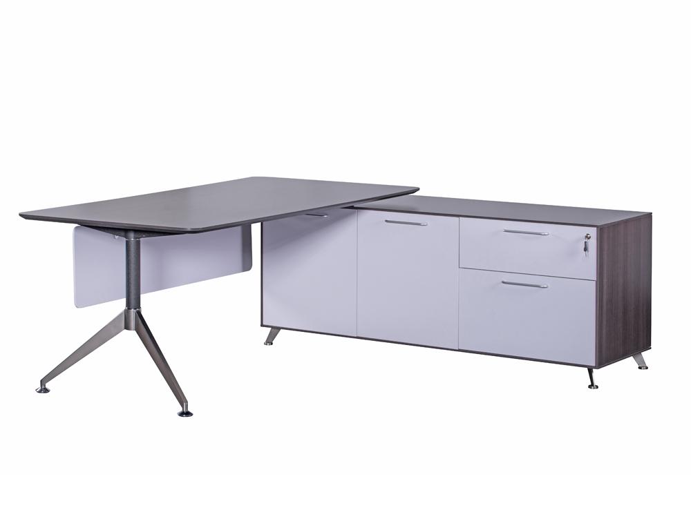 Nero Executive Desk with Credenza Unit - Right