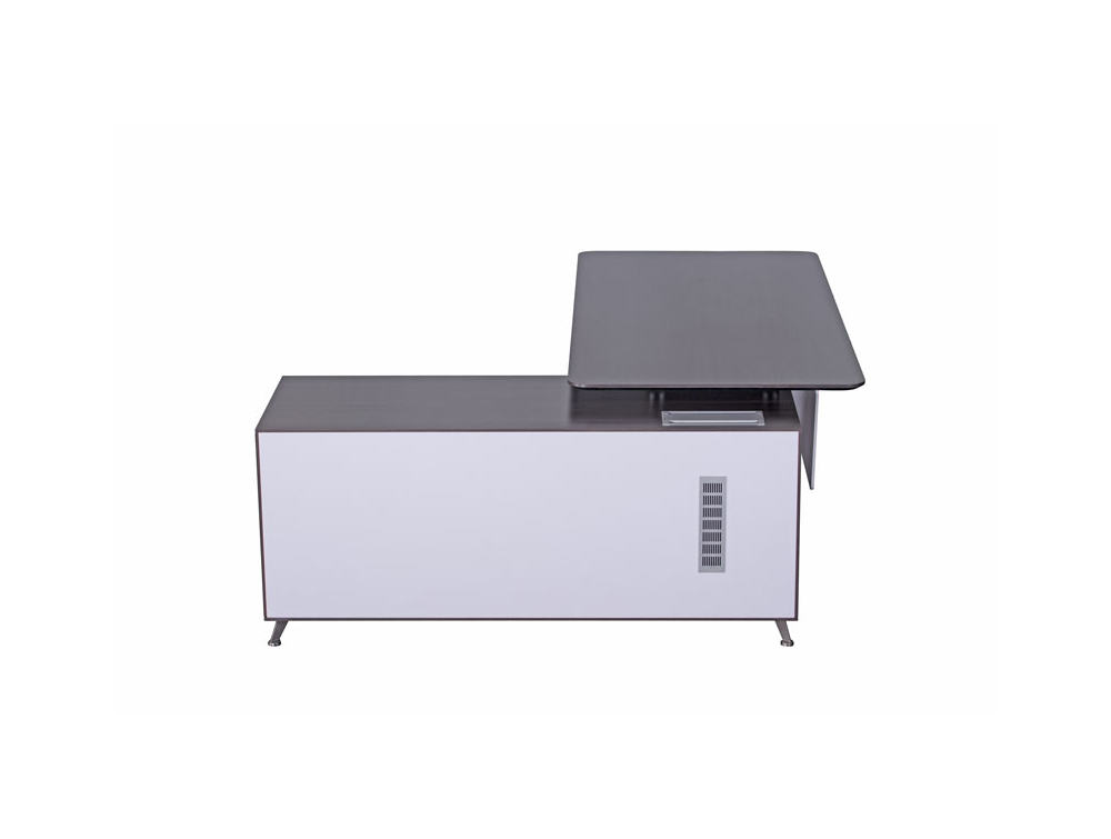 Nero Executive Desk with Credenza Unit Modesty Panel and Cable Management