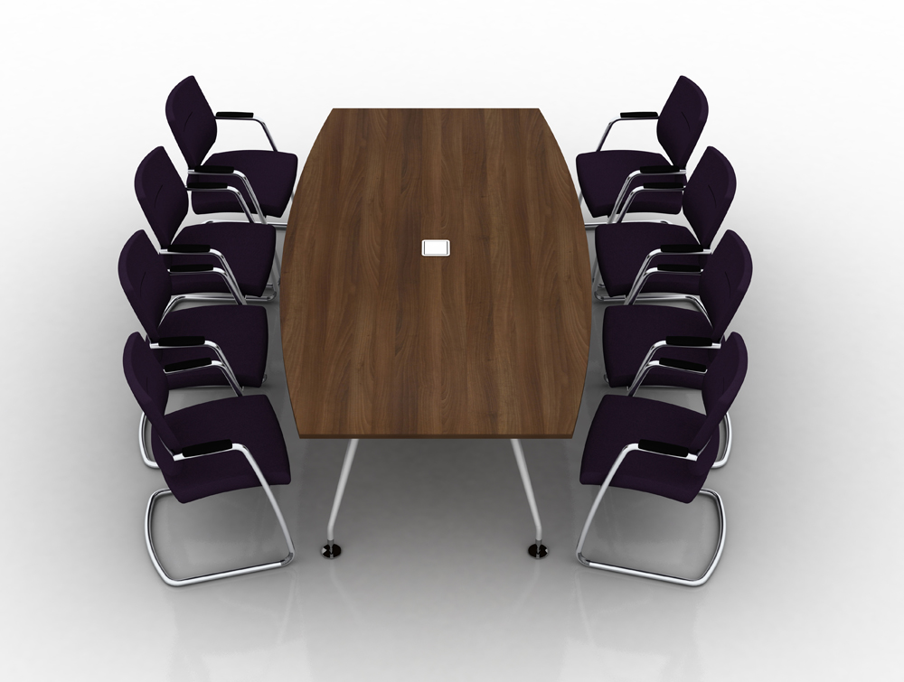 Vega-Conference-Table-with-Walnut-Finish-and-Barrel-Shape