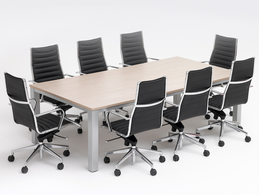 Infinity conference table with beech finish and silver legs