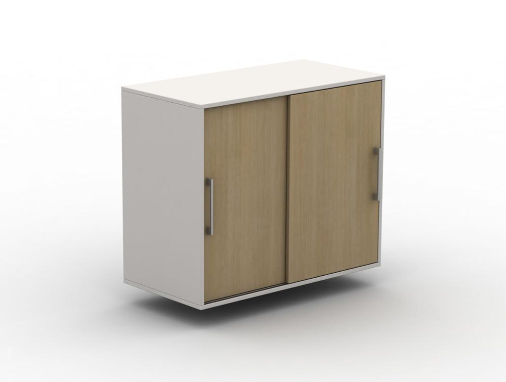 Box Big Storage Unit Double Height Double Width with Wooden Sliding Doors and Metal Door Handles
