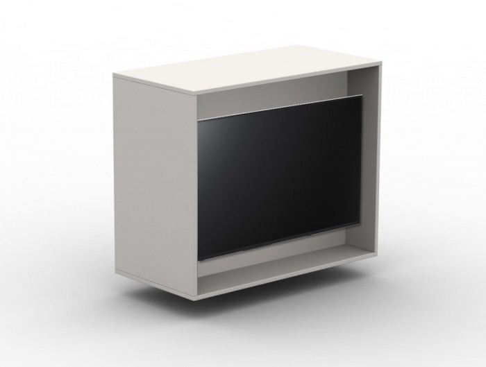 Box Big White Storage Unit with Television Screen