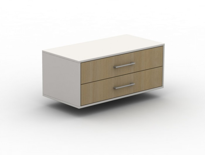 Box Broad Storage Unit Single Height Double Width with Wooden Drawers and Metal Handles