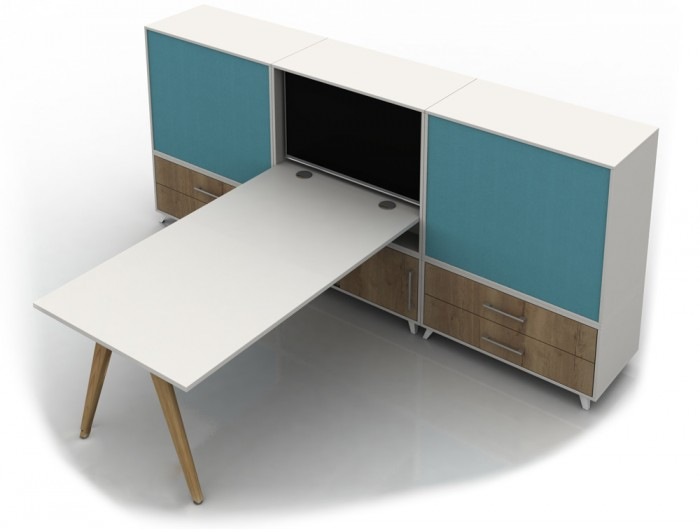 Box Solo White Desk with Screen and Wooden Storage and Legs