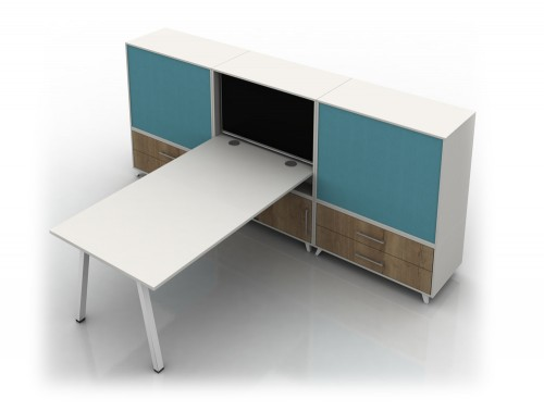 Box Solo White Desk with Screen and Wooden Storage