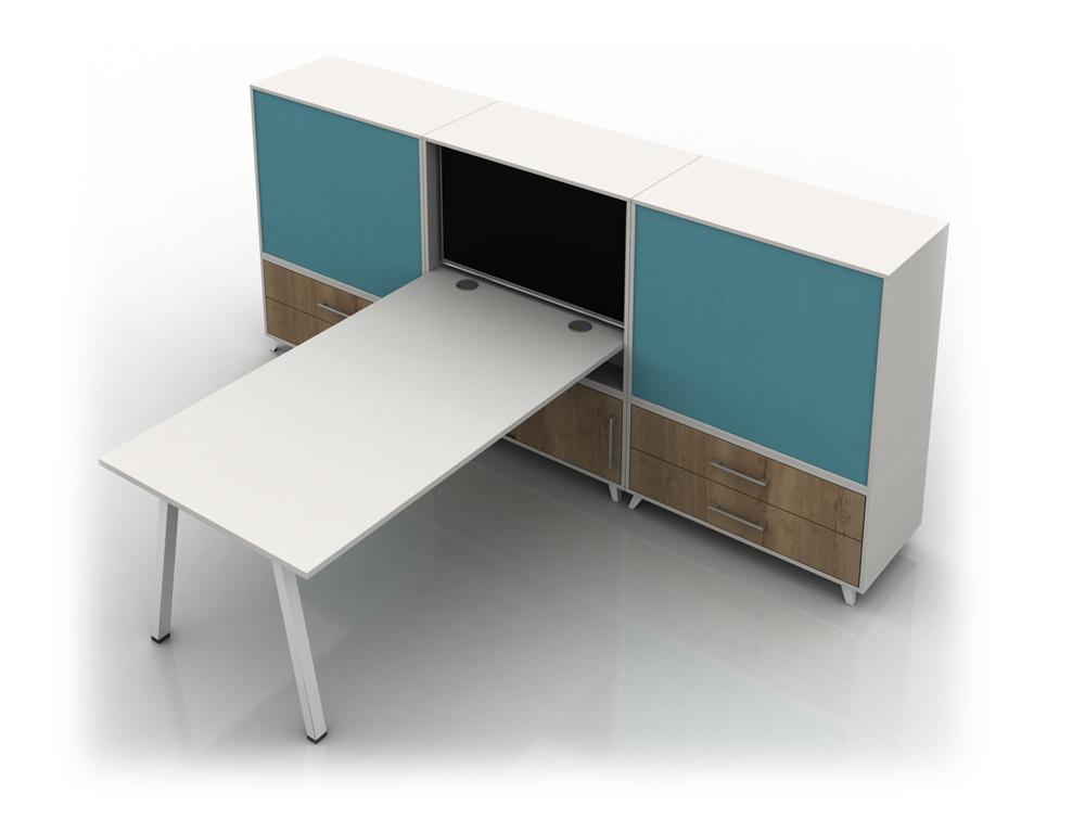 Box Solo Straight Desk with Storage