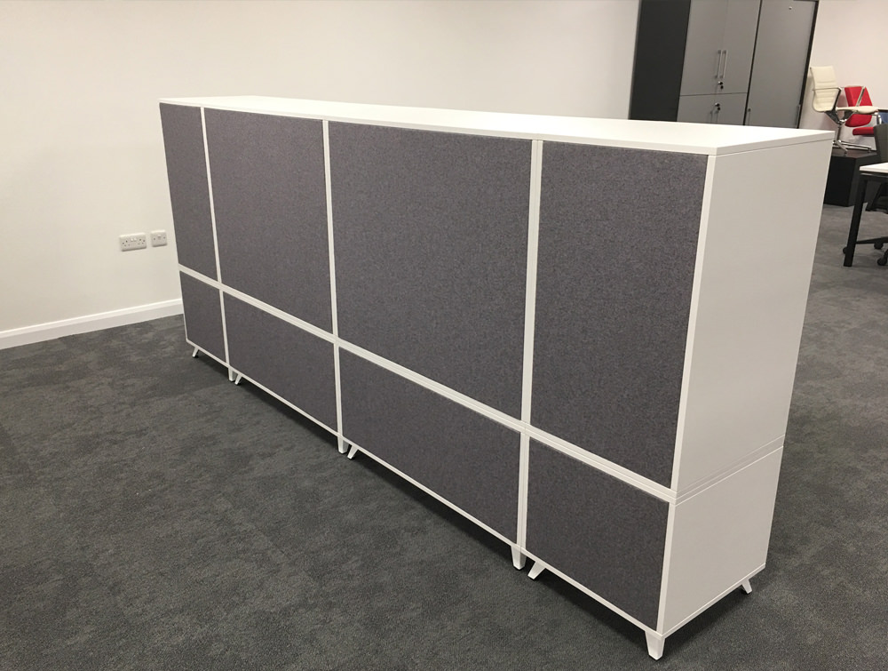 Box Double Straight Desk Grey and White Unit with Storage Back View