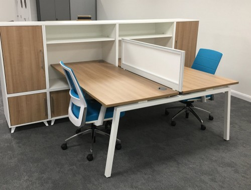 Box Double Straight Desk Unit with Storage in Wood Finish and White Edge