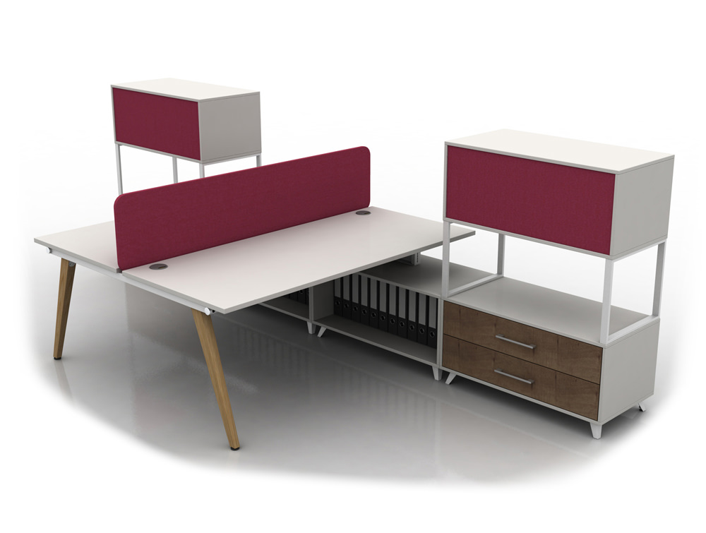 Box Double Straight White Desk with Wooden Legs and Red Upholstered Storage