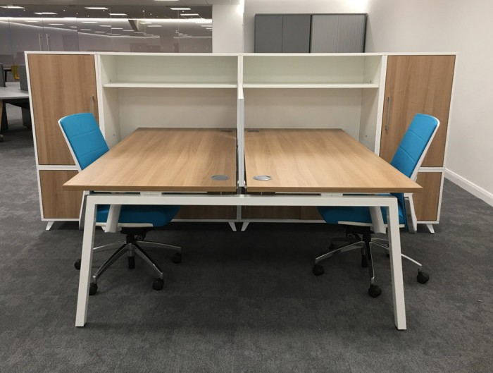 Box Double Straight Desk Unit with Storage and Wooden Tabletop with Cable Ports