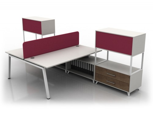 Box Double Straight White Desk with White Legs and Red Upholstered Storage
