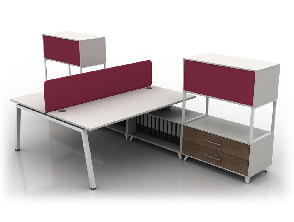 Box Double Straight White Desk With Legs And Red Upholstered Storage