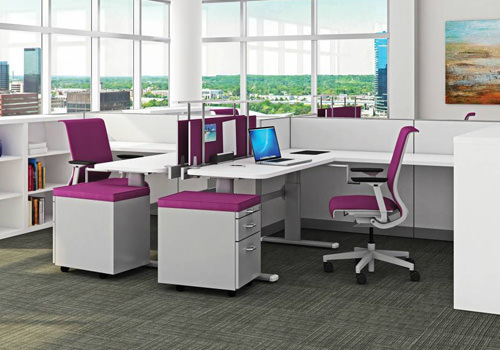 Pink Desk Screens and Storage Units