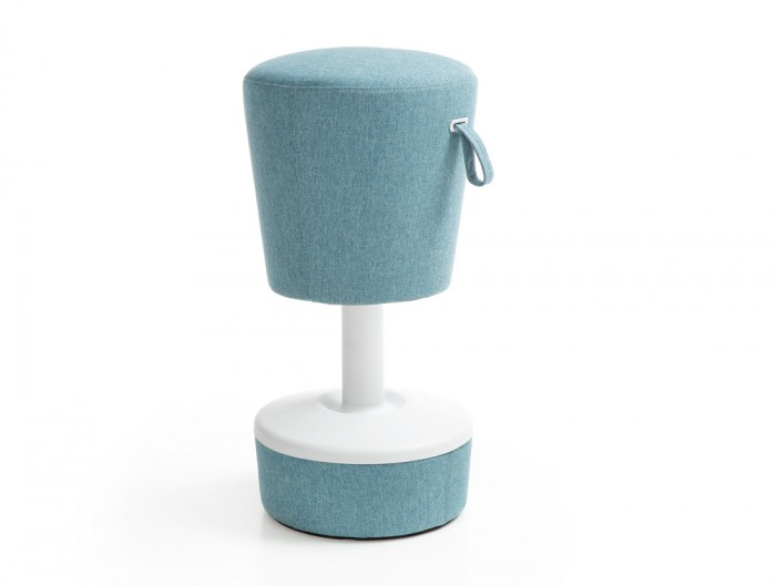 Mickey Pouffe Movement Chair with Fabric Base in Sky Blue Colour Position 2