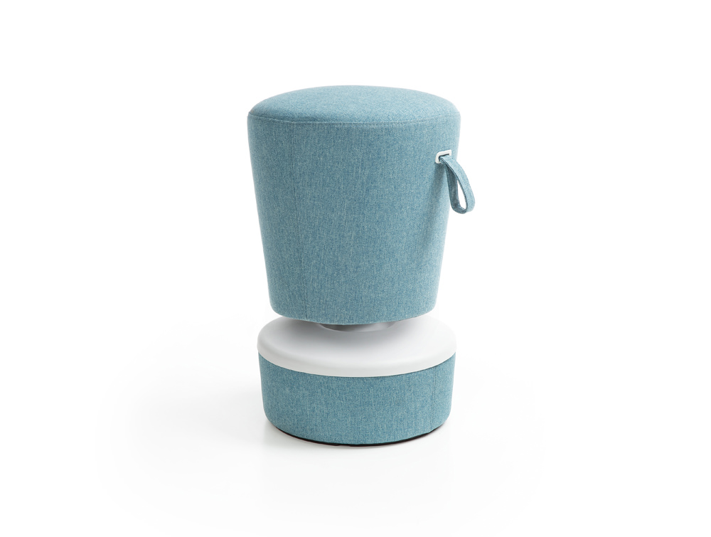 Mickey Pouffe Movement Chair with Fabric Base in Sky Blue Colour Position 3