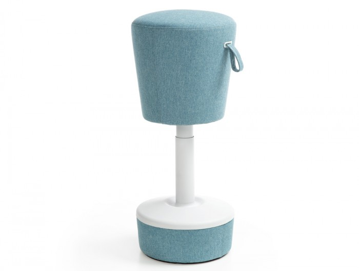 Mickey Pouffe Movement Chair with Fabric Base in Sky Blue Colour