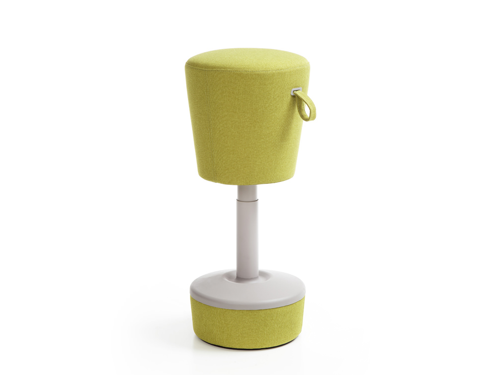 Mickey Pouffe Movement Chair with Green Fabric Base in Lush Green Colour Positon 1
