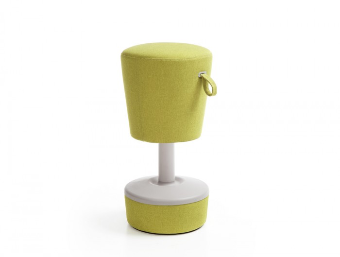 Mickey Pouffe Movement Chair with Green Fabric Base in Lush Green Colour Positon 2