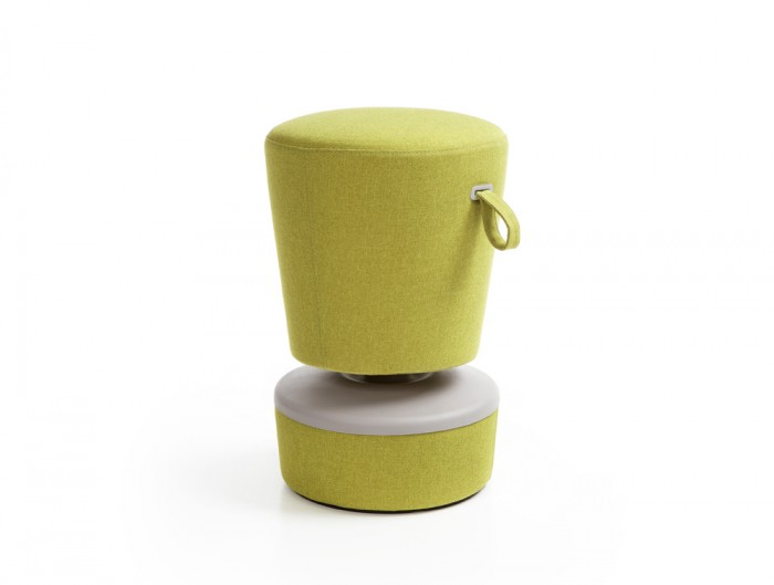 Mickey Pouffe Movement Chair with Green Fabric Base in Lush Green Colour Positon 3