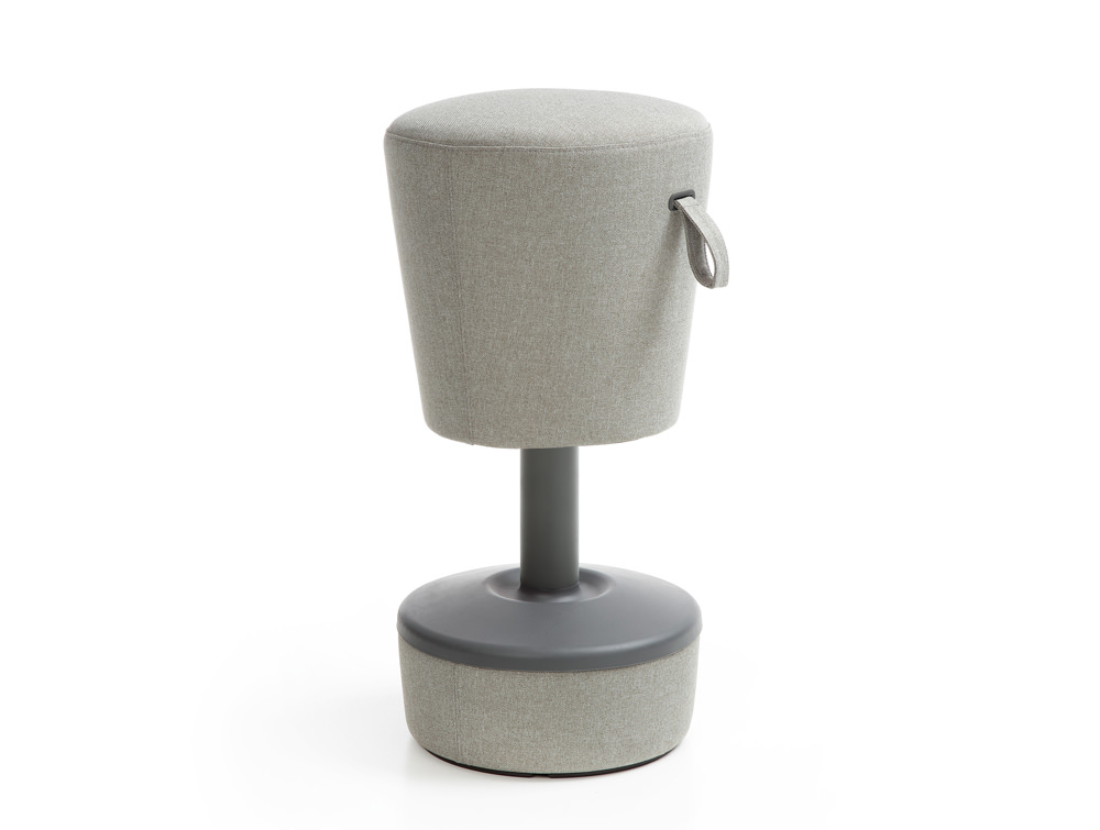 Mickey Pouffe Movement Chair with Grey Fabric Base in Grey Colour Positon 2