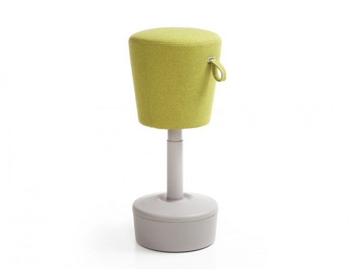 Mickey Pouffe Movement Chair with Grey Plastic Base in Lush Green Colour Positon 1
