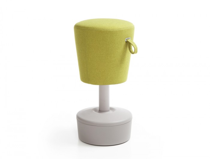 Mickey Pouffe Movement Chair with Grey Plastic Base in Lush Green Colour Positon 2