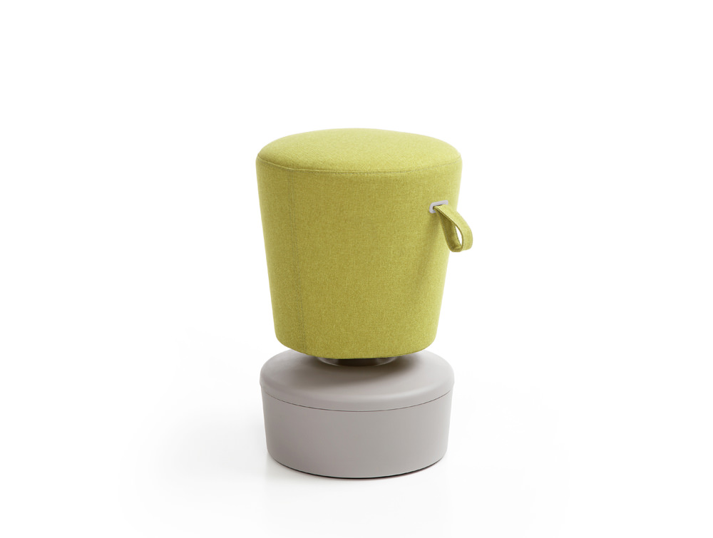 Mickey Pouffe Movement Chair with Grey Plastic Base in Lush Green Colour Positon 3