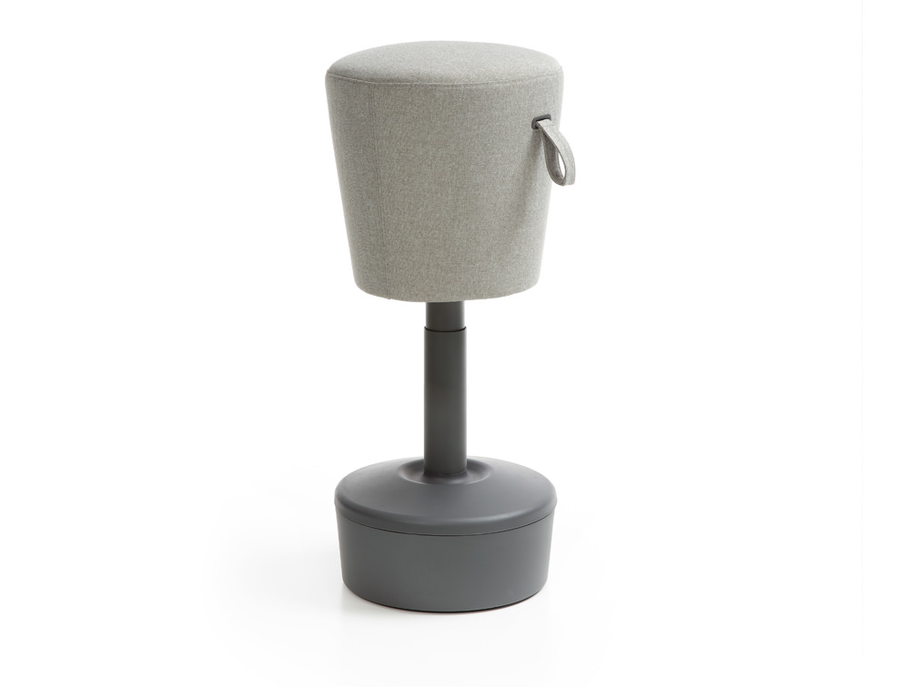Mickey Pouffe Movement Chair with Plastic Base in Silver Colour